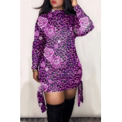 Lovely Trendy Half A Turtleneck Printed Purple Min