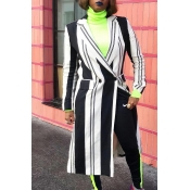 Lovely Trendy Striped Long Black Coat