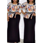 Lovely Casual O Neck Printed Black Ankle Length Pl