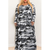 Lovely Casual O Neck Camouflage Printed Floor Length Plus Size Dress