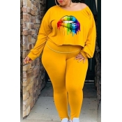 Lovely Casual Lip Printed Yellow Plus Size Two-piece Pants Set