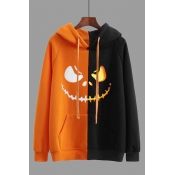 Lovely Halloween Casual Patchwork Black Plus Size