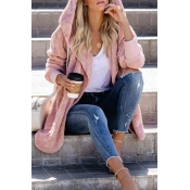 Lovely Casual Hooded Collar Light Pink Coat