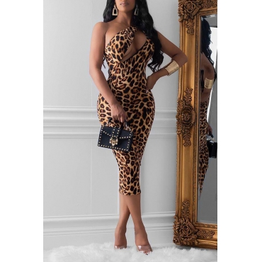 Lovely Sexy One Shoulder Leopard Printed Brown Mid Calf Dress
