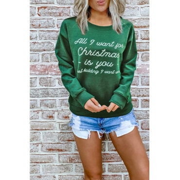 Lovely Round Neck Letter Printed Green Hoodie