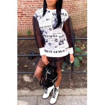 Lovely Casual Patchwork Letter Printed Black And White Mini Dress