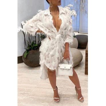 Lovely Trendy V Neck Tassel Design White Mid Calf Dress