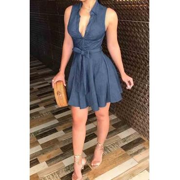 Lovely Casual Turndown Collar Ruffle Design Blue Mini Dress