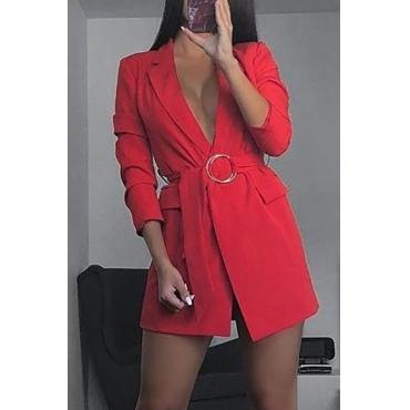 Lovely Casual Deep V Neck Red Blazer