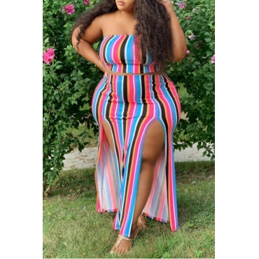 Lovely Casual Striped Red Purple Size Two-piece Skirt Set