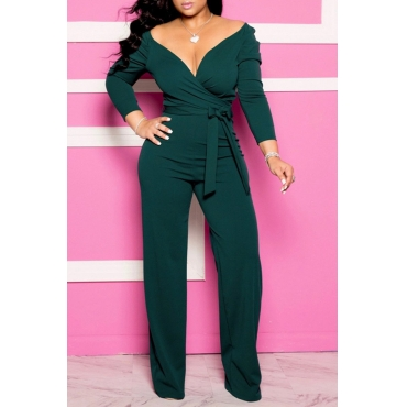 Lovely Casual V Neck Lace-up Green Plus Size One-piece Jumpsuit