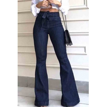 Lovely Retro Lace-up Dark Blue Jeans