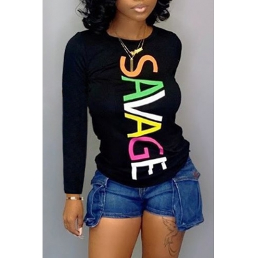 Lovely Trendy Letter Printed Black T-shirt