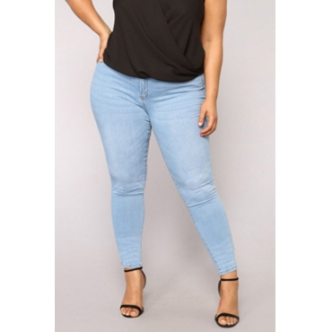 Lovely Casual Skinny Sky Blue Plus Size Jeans
