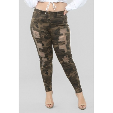 Lovely Casual Camouflage Printed Army Green Plus Size Pants
