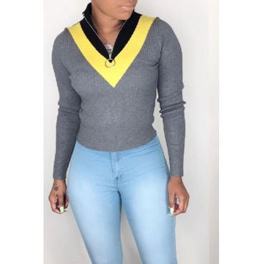 Lovely Work Color-lump Grey Sweater
