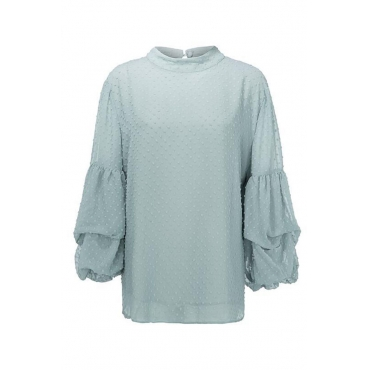 Lovely Casual Ruffle Design Light Green Plus Size Blouse