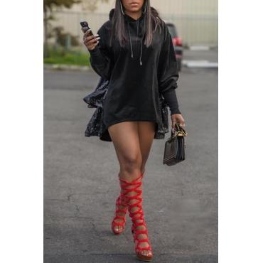 Lovely Trendy Hooded Collar Patchwork Black Mini Dress