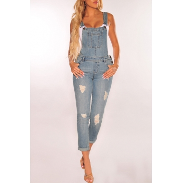 Lovely Casual Broken Holes Baby Blue One-piece Jumpsuit