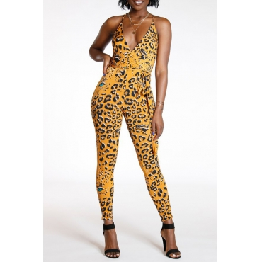 Lovely Casual Leopard Printed Yellow One-piece Jumpsuit