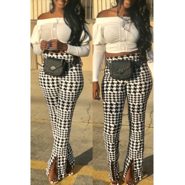 Lovely Casual Plaid Printed White Pants