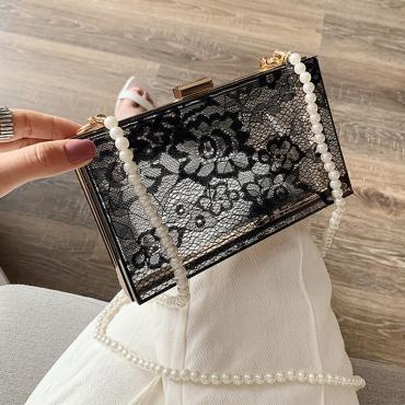 Lovely Trendy See-through Black Messenger Bag