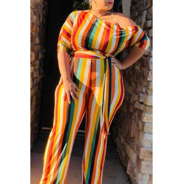 Lovely Casual One Shoulder Striped Multicolor Plus Size One-piece Jumpsuit
