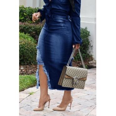 Lovely Casual Broken Holes Slim Deep Blue Denim Mid Calf Skirts