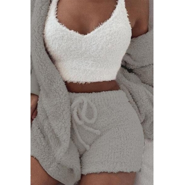 Lovely Casual Basic GreyThree-piece Shorts Set