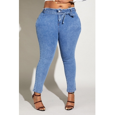 Lovely Casual Skinny Baby Blue Plus Size Jeans