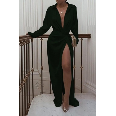 Lovely Sexy Turndown Collar Black Floor Length Prom Dress