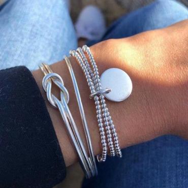 Lovely Trendy Three-piece Silver Alloy Bracelet