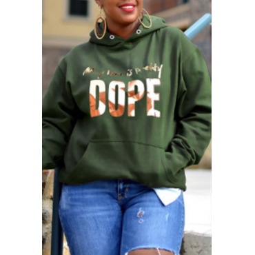 Lovely Casual Hooded Collar Letter Printed Olive Hoodie