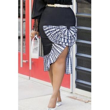 Lovely Trendy Patchwork Black Knee Length Skirts