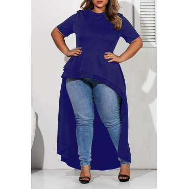Lovely Casual Asymmetrical Deep Blue Plus Size Blouse