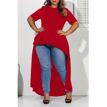 Lovely Casual Asymmetrical Red Plus Size Blouse