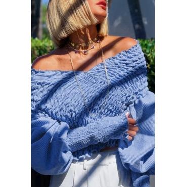 Lovely Leisure Ruffle Design Blue Blouse