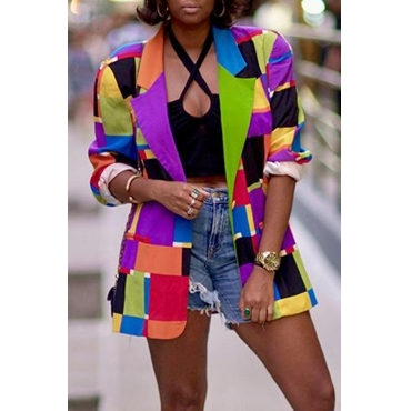 Lovely Casual Color-lump Patchwork Multicolor Blazer