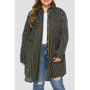 Lovely Casual Striped Blackish Green Plus Size Coat