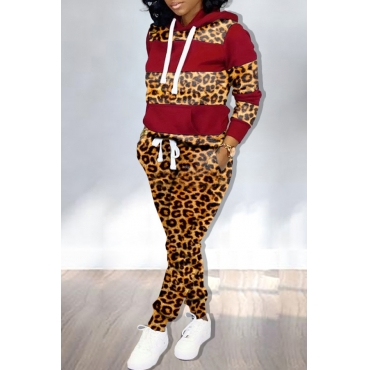 Lovely Trendy Hooded Collar Printed Wine Red Two-piece Pants Set