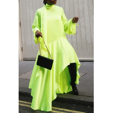 Lovely Casual Turtleneck Asymmetrical Green Floor Length Dress