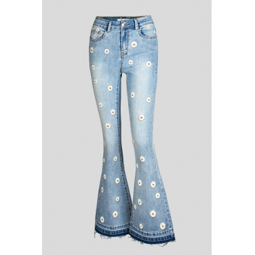 Lovely Trendy Embroidered Design Baby Blue Plus Size Jeans