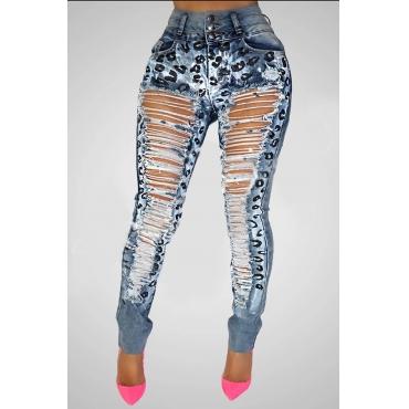 Lovely Trendy Printed Broken Holes Baby Blue Jeans