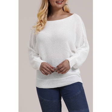 Lovely Casual O Neck White Plus Size Sweater