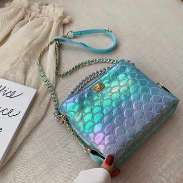 Lovely Trendy Chain Strap Blue Messenger Bag