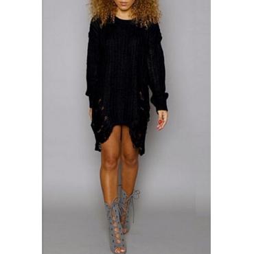 Lovely Trendy Asymmetrical Broken Holes Black Mini Dress