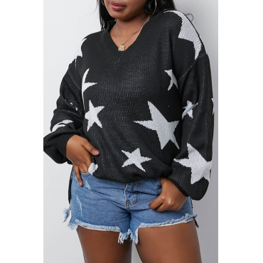 Lovely Casual Star Black Sweater