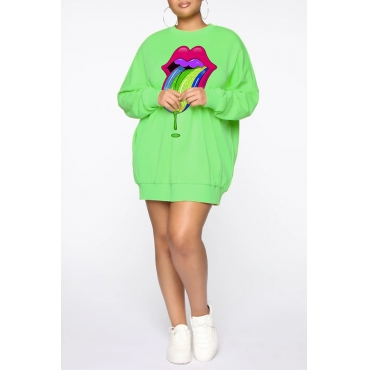 Lovely Casual Lip Printed Green Plus Size Hoodie