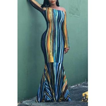 Lovely Casual Striped Blue Floor Length Trumpet Mermaid Dress