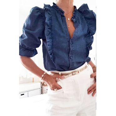 Lovely Work Flounce Design Blue Blouse